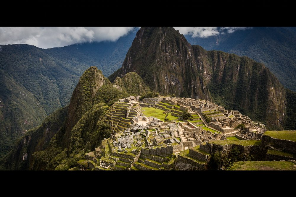 The classic view of the Incan Citadel Machu Picchu.