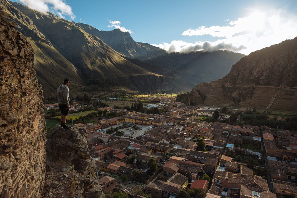 Geoff Gulevich  overlooking the town of Ollantaytambo. Photo:  Margus Riga