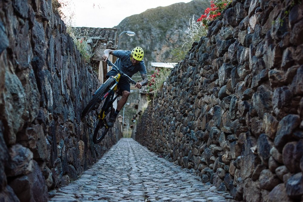Geoff Jumping in Ollanta City Streets, Peru