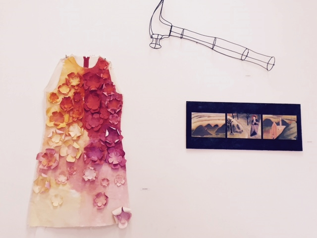 Works by Joanna Booth (dress), Anna Maguire (wire sculpture) and Alison Biester.