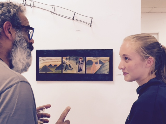 Renny and Alison Biester in front of her piece.