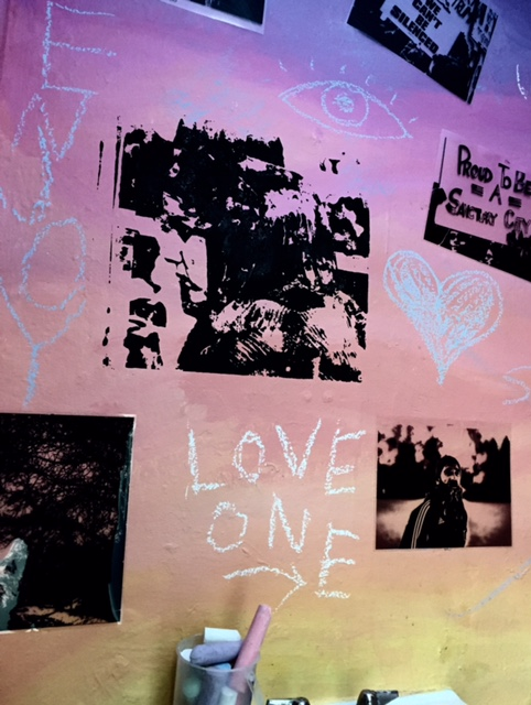 "Messages on the wall of ""WE RISE"" by Eddie Einbender-Luks & Amanda Booth."