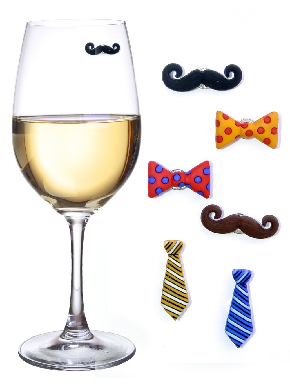 Mustaches & Ties Wine Charms - $15