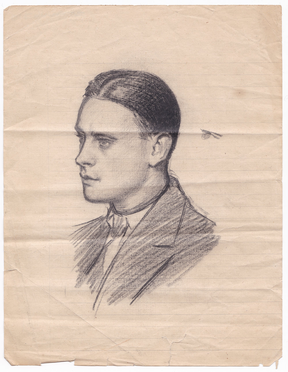 Drawing of a head  . 25, 5 x 20 cm, graphite on paper. n.d.  When ´  Drawing of a head  ´was found, it was believed to be Svetoslav´s [Roderich Tuhn] own portrait. After thorough analysis on the surface of the paper and a cross-examination with both experts and friends, it was established as the portrait of a boy who attended his studio regularly.