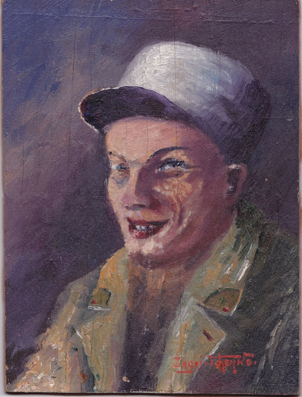 Portrait of Boy. Oil on board, n.d      This portrait shows Tuhn's initial attempts to paint. The piece was collected from his mother's collection, which was then donated to the War Memorial Museum in Berlin after her death. It can be compared with avant-garde movements in Europe at the time like Expressionism and Fauvism, with significant exponential figures such as Karl Schmidt-Rottluff andErnst Ludwig Kirchner.
