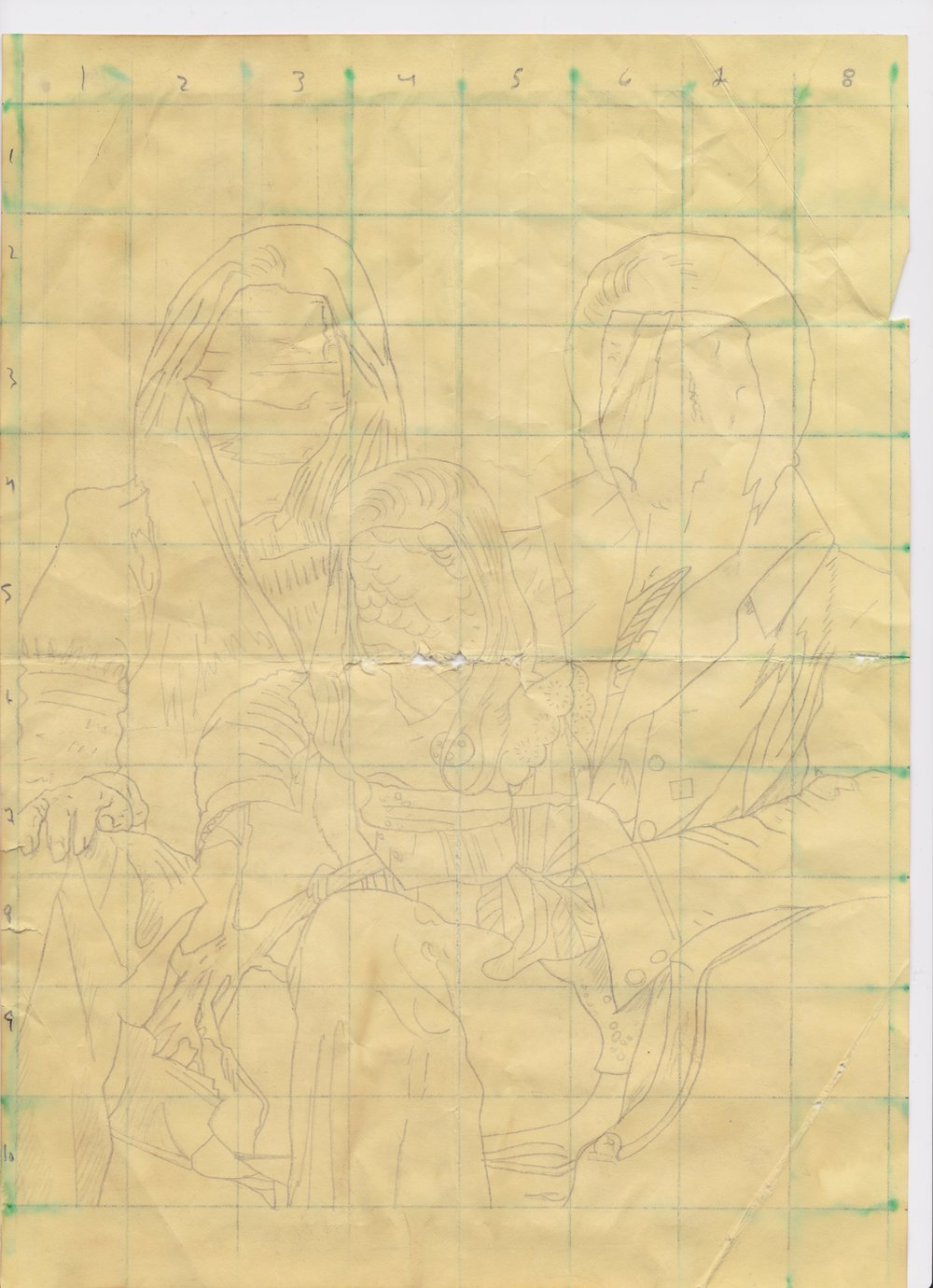 A4 Original Grid Sketch for Untitled, pencil and ink on paper, n. d.