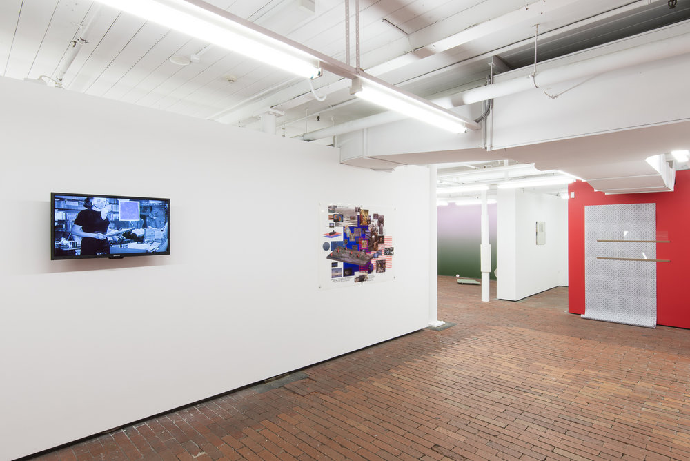 Installation view, (from left) Genevieve Pikó, 2018, The trail of an imprint, the beginning of a mark, video (9'11''), Charlie Donaldson, 2018, CRISIS ENDING, inkjet print on plastic, 1.5 x 1m, Ashley Perry, 2018, Jimmy's Story, mixed media installation. All Images by Aaron Christopher Rees.