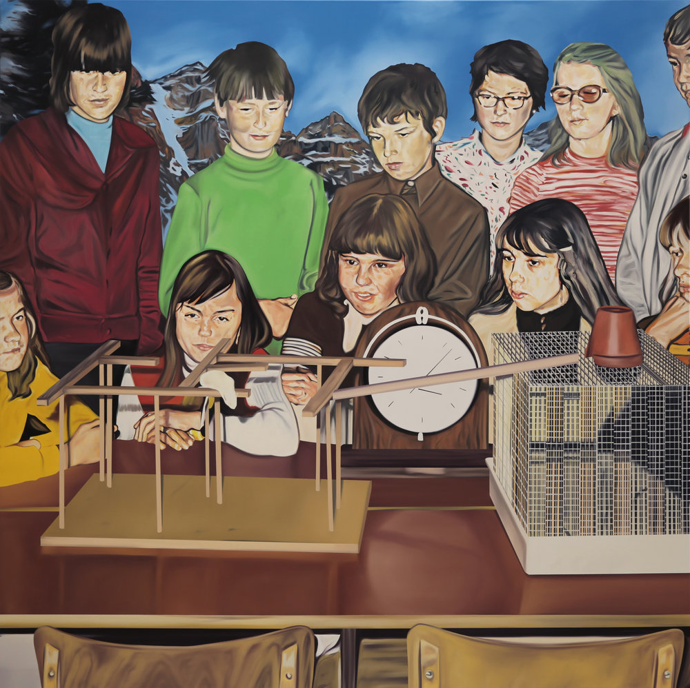 Niños mirando a la rata. Oil on canvas, 200 x 200 cm, 2018.
