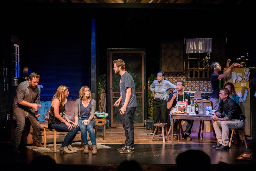 "The four Clark siblings (left) and their various friends, significant others, detectives and neighbors share the stage, all of them affected by the ""dysfunctional functionality"" of family dynamics."