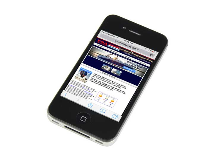 USA RV & Marine's website as viewed on an iPhone.