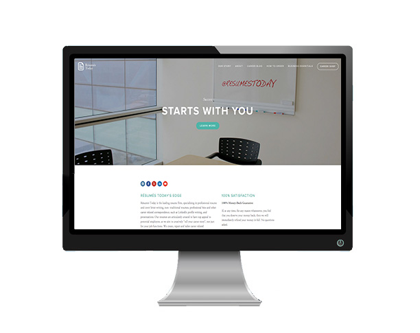 ResumesToday's website as viewed on an Desktop  .