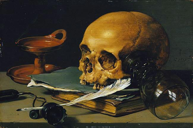 """Still Life with a Skull and a Writing Quill"" by Pieter Claeszoon featuring a writing quill."