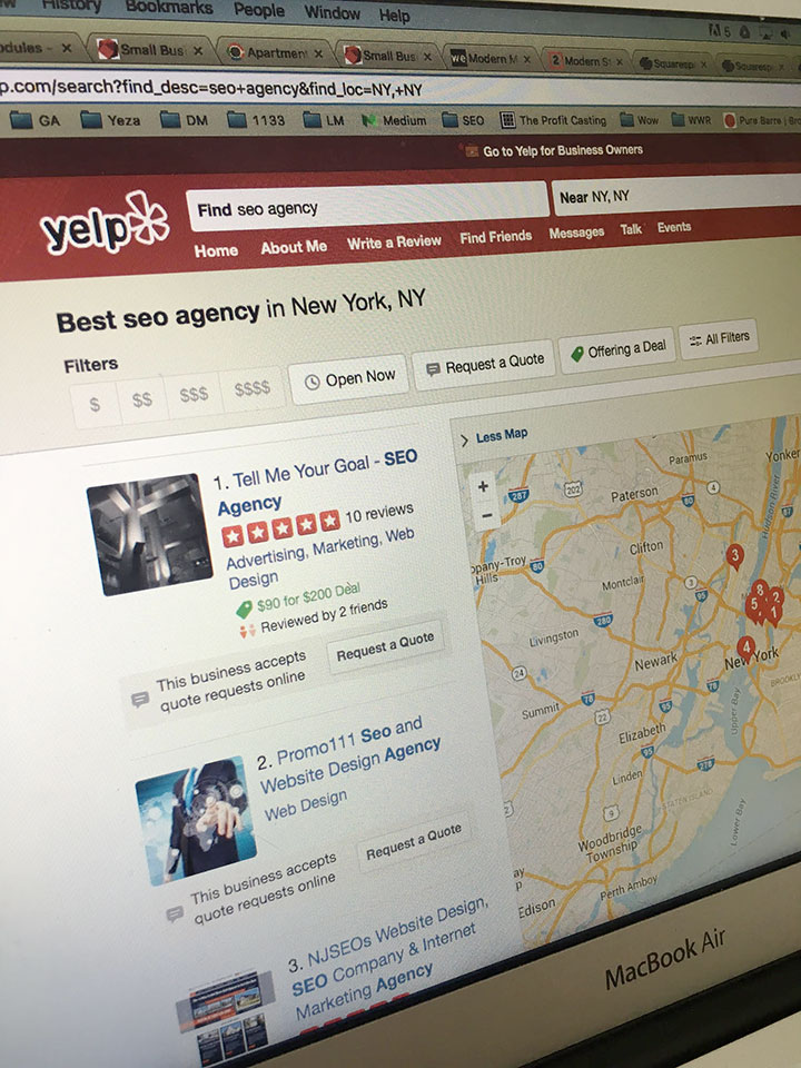 I'm the number 1 best SEO Agency in NYC according to Yelp.