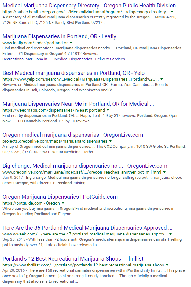 The first page of Google receives over 92% of the visits. - If your medical marijuana dispensary business is not on the first page of Google, you're missing out on a lot of traffic.