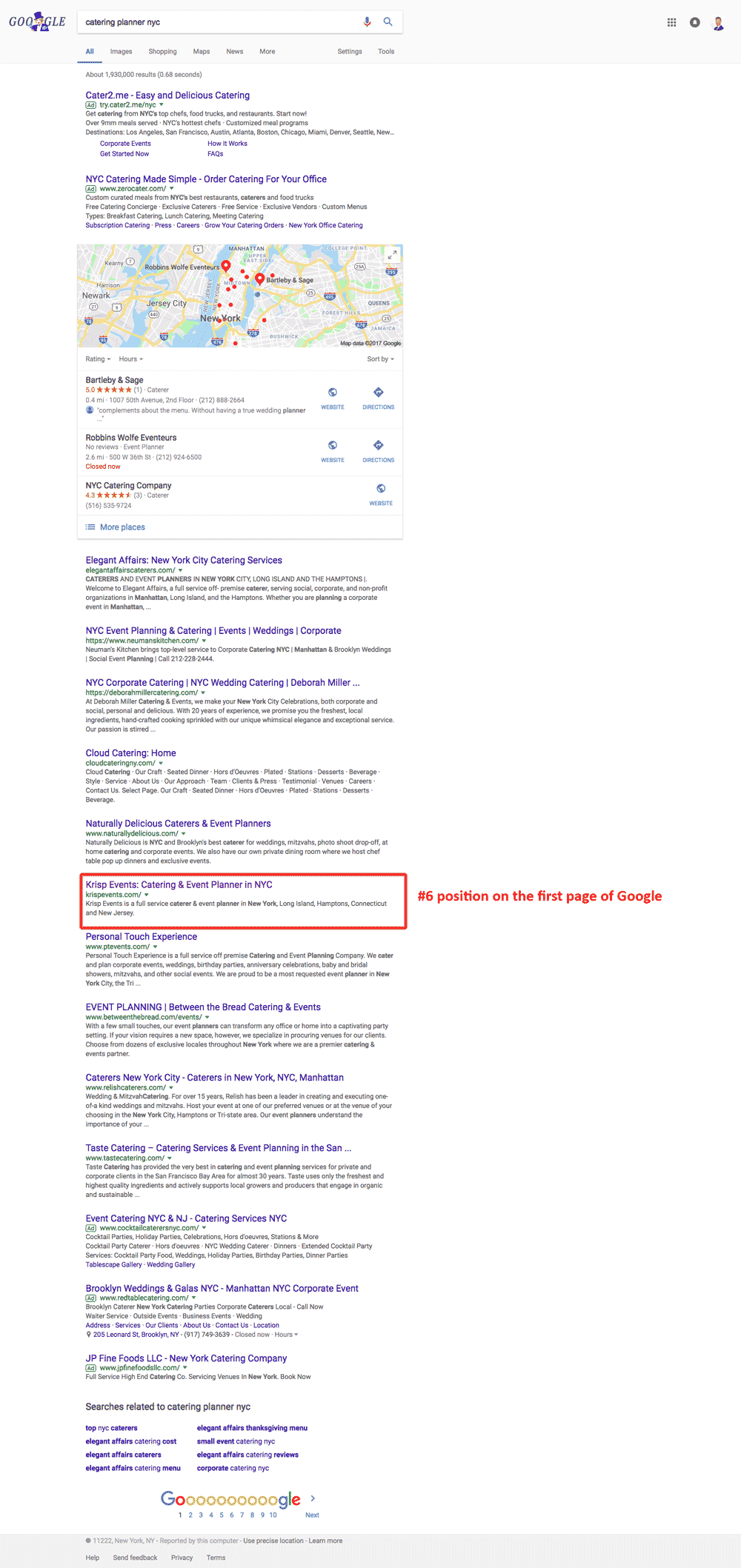 Krisp Events now ranks on the first page of Google.