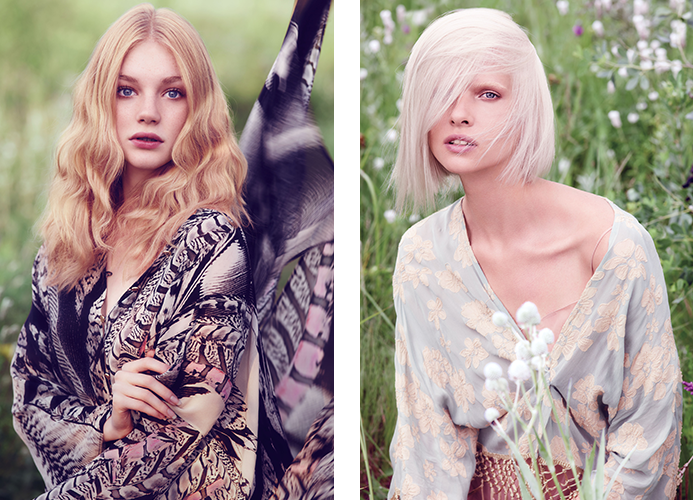 Two beautiful blondes from the Rare Bloom Spring 2015 collection, Golden Lily (left) and White Jasmine (right.)