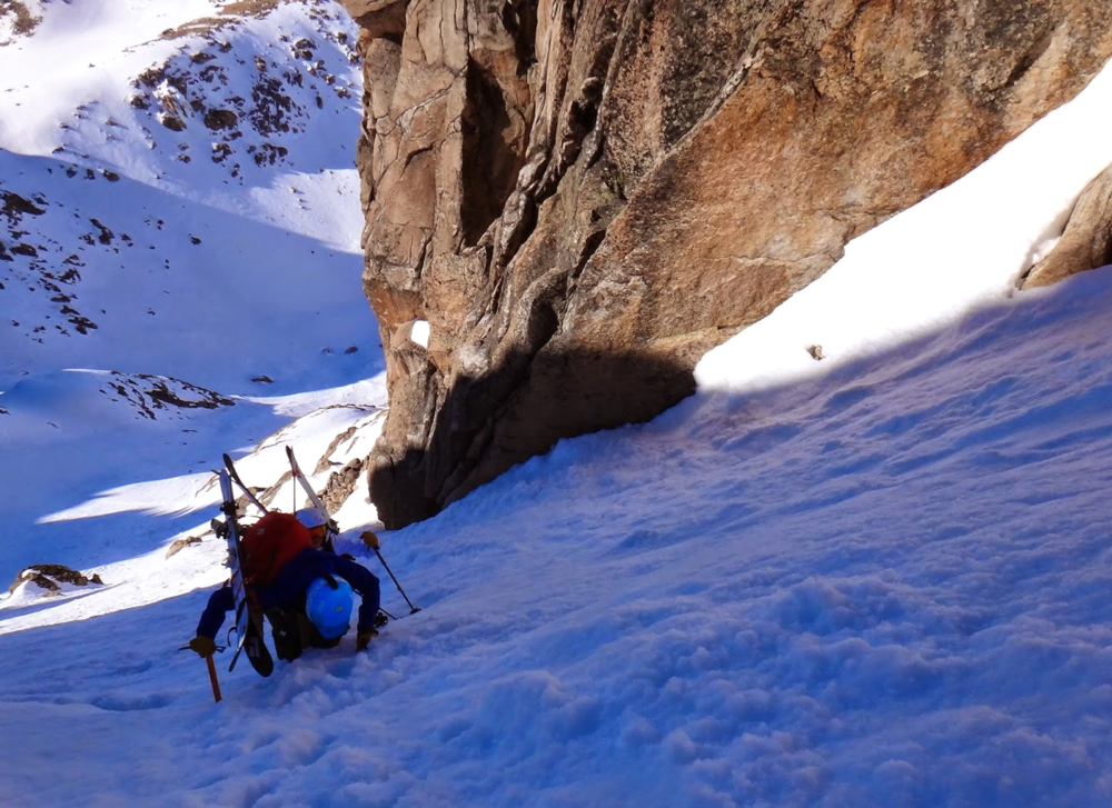 Climbing lovely little couloirs near Catedral in Bariloche