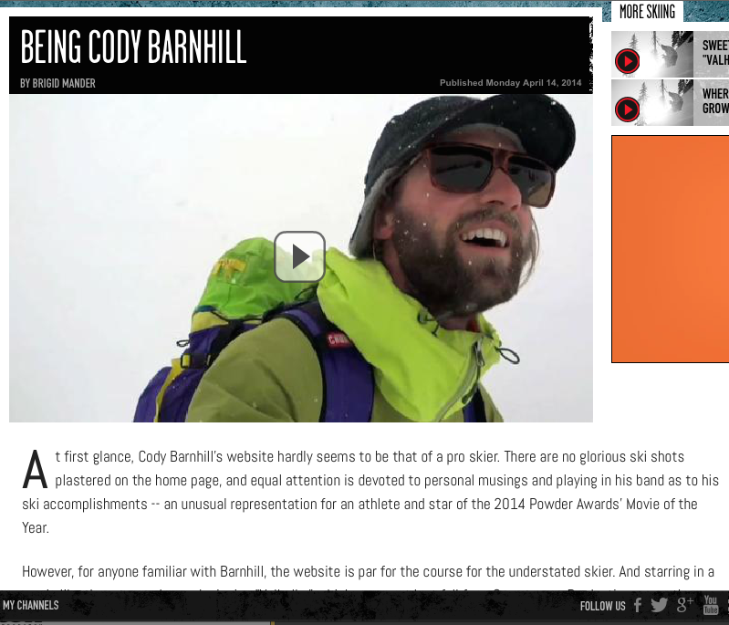 ESPN X Games, April 2014          Catching up with Cody Barnhill, pro skier and star of Sweetgrass Productions 'Valhalla.'