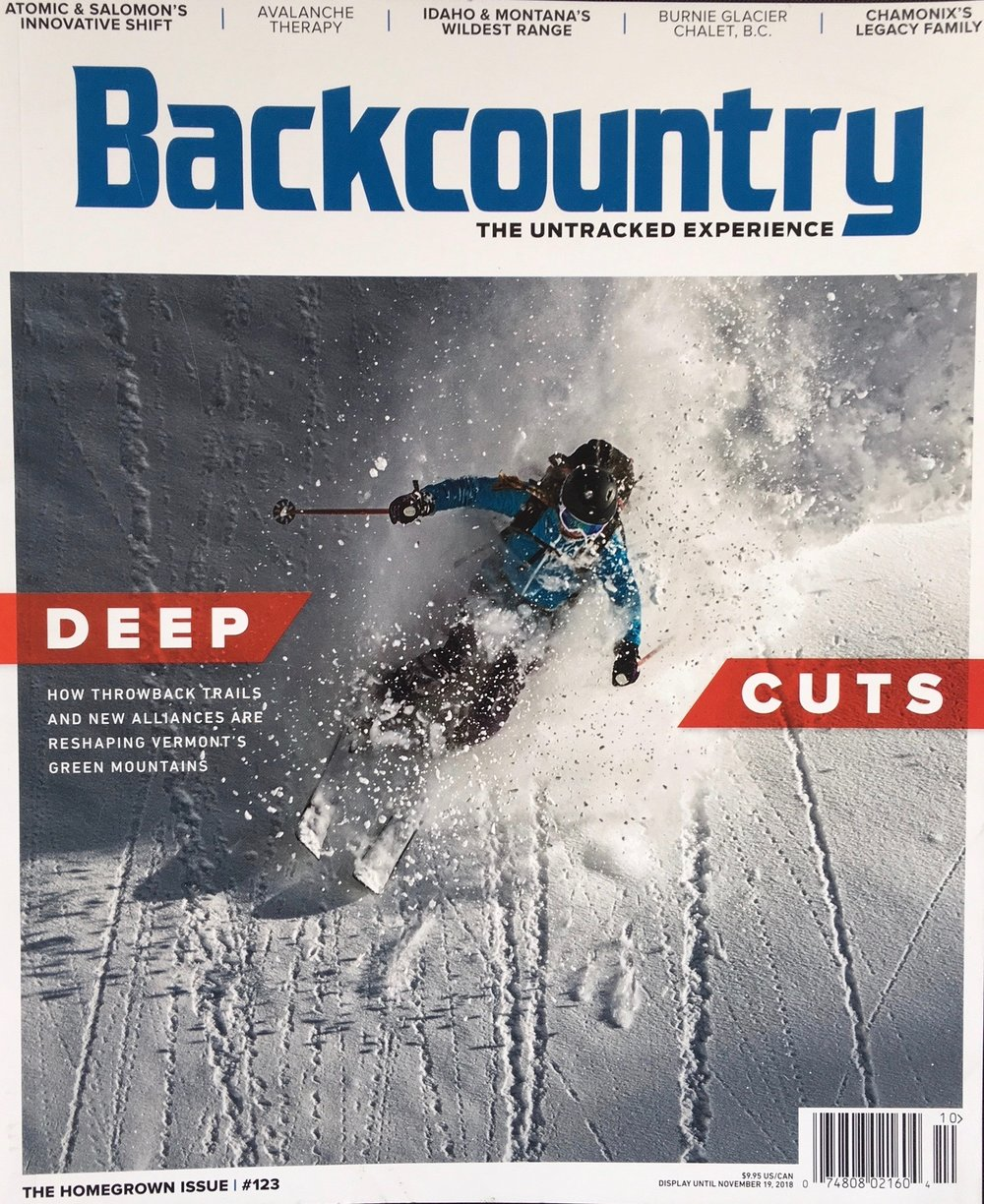 Backcountry Magazine, October, 2018    The Wildest West: A trip over the Centennial Range for powder skiing, wildlife watching, and a lesson in land management gone awry. A feature story with Hellroaring Powder Guides.
