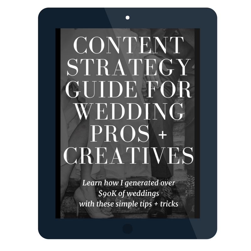 Jam packed with 30 pages of how you can use your wedding blog to create over $90K of wedding inquiries. - This guide talks about SEO, blogging, content upgrades, and how you get found on google search.