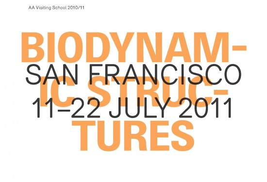 Biodynamic Structures _ July 2011 San Francisco Visiting School California College of the Arts Monday 11 to Friday 22 July, 2011 Visit the official website: http://sanfrancisco.aaschool.ac.uk/ Biodynamics is the study of the force and energy of dynamic processes on living organisms. Through simple mechanisms embedded within the material logic of natural systems, specific stimuli can activate a particular response. This response occurs in carnivorous plants such as the Venus fly-trap, which uses turgor pressure to trap small insects in order to feed, and worms, which by contracting differently oriented muscles, achieve movement. This ten-day intensive workshop, co-taught by the faculty of the Emergent Technologies and Design Programme at the AA and the faculty of Architecture and MEDIAlab at California College of the Arts, will explore active systems in nature, investigating biomimetic principles in order to analyze, design and fabricate prototypes that respond to electronic and environmental stimuli. Students will work in teams to research specific biological systems, extracting logics of organization, geometry, structure and mathematics. Advanced analysis, simulation, modeling and fabrication tools will be introduced in order to apply this information to the design of both passive and active responsive architectural systems. Investigation and application of robotics, sensors and actuators will be employed for the activation of the material system investigation through the construction of working responsive prototypes. CCA San Francisco is the hub for design innovation and experimental architecture in the Bay Area. Its downtown campus is located in a 120m long former bus depot and is home to a world-class fabrication and digital design facility adjacent to its design studio spaces. The facility includes a CNC routing lab, industrial lasercutters, 3D Printer, extensive metal and wood shops; as well as labs dedicated to textiles, electronics, visualization and programming. + CONTENT TAGS: Biodynamic, Parametric, Scripted, Mimetic, Responsive, Interactive, Digitally Fabricated + SOFTWARE: Rhino, Grasshopper, Firefly, Kangaroo, RhinoScript, Arduino Applications The deadline for applications is 20 June 2011. A late deadline of 4 July 2011 is also in effect, but this will incur a £50 surcharge. ONLINE APPLICATION Fees The AA Visiting School requires a fee of £650 per participant, which includes a £50 Visiting Student Membership. Fees do not include flights or accommodation. MORE INFO