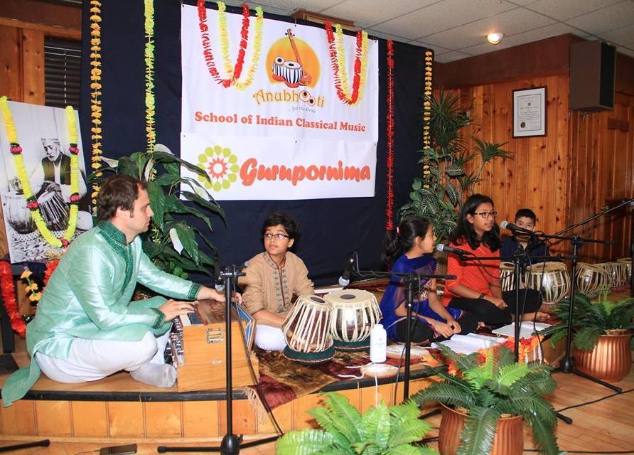 A student performance at Anubhooti Guru Purnima