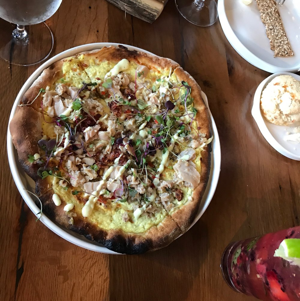 White Clams Casino Pizza - Applewood Smoked Bacon, Fresh Chopped Clams, Peppers, Onions, Lemon Ricotta