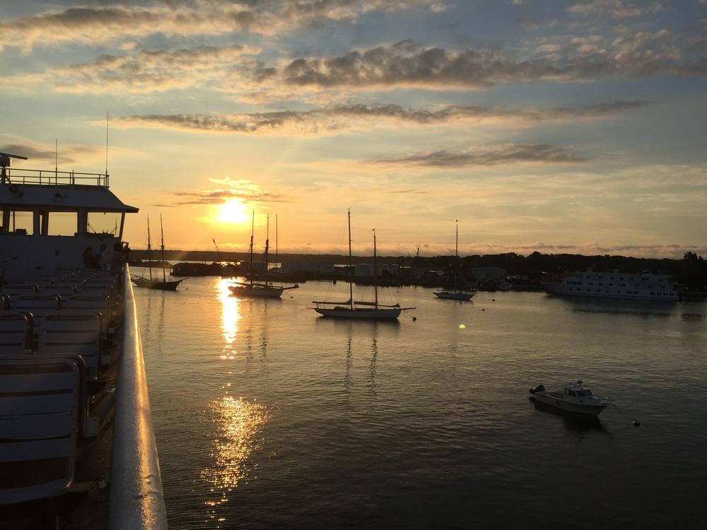 Sunrise on the ferry boat leaving Martha's Vineyard