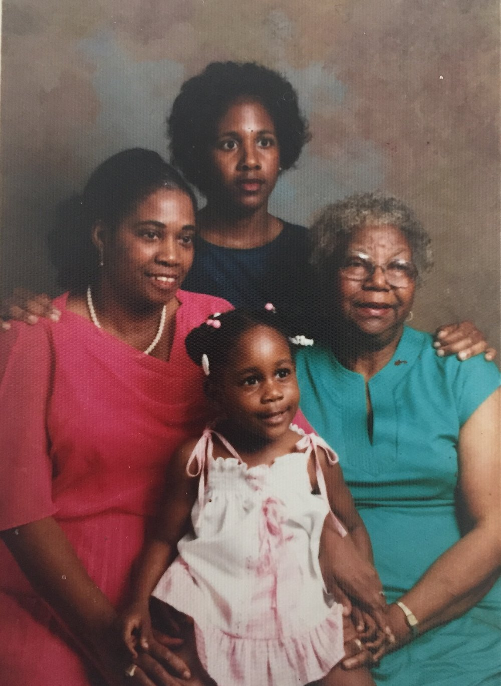 Four generations of Black Girl Magic. Me about aged 3? Pictured with my mother (top) My grandmother (left) and my great-grandmother (right)
