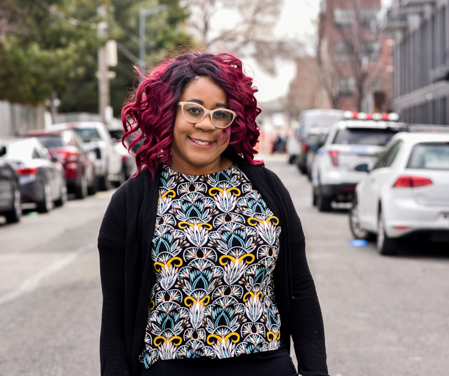 Black Girl Red hair. Hipster glasses. NYC. Black Millennial. Copyright 2018 Donnashoots.com