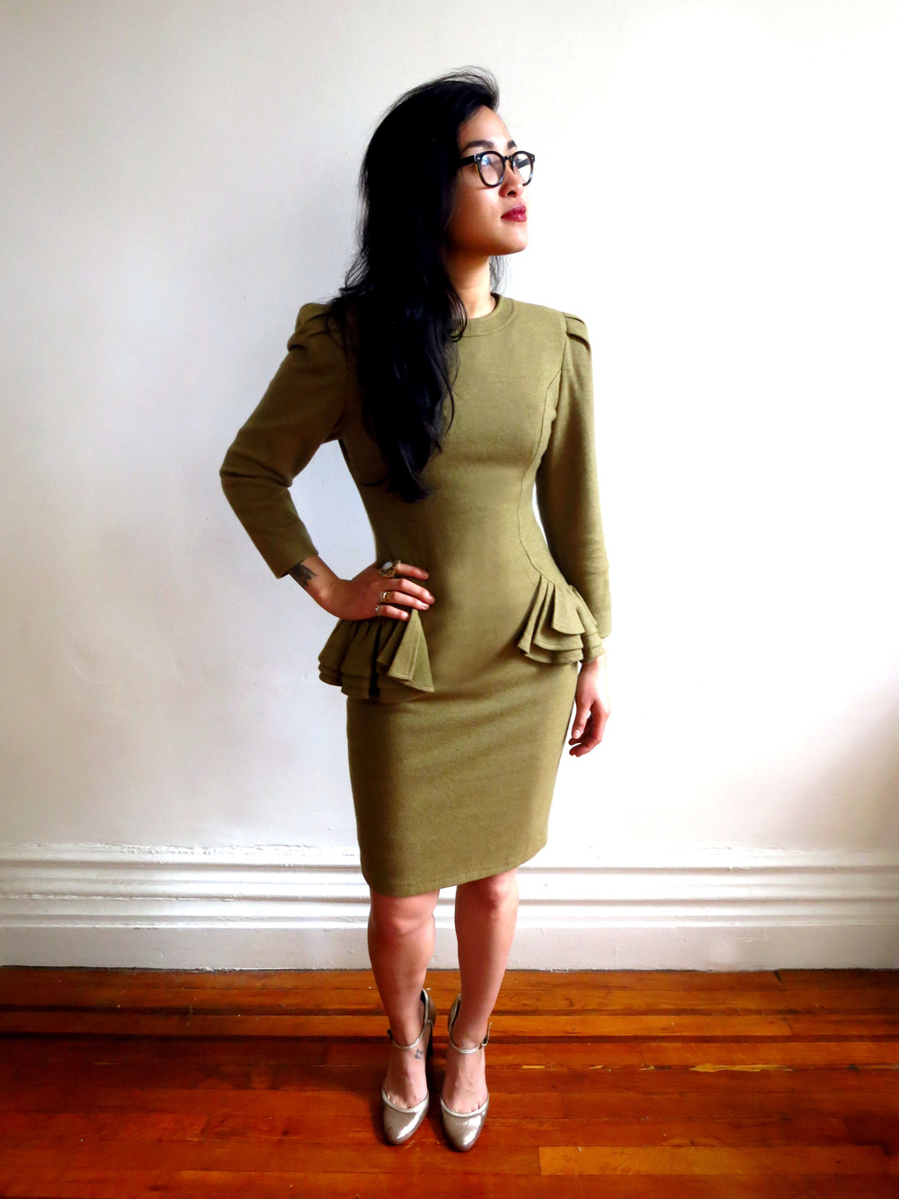 Vintage Mable Peplum Pencil Dress