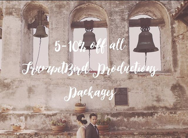 Now is the time to book! We are currently offering 10% off our packages for any wedding in 2015 and 5% just for booking during the month of October. (Offers cannot be combined). October is running out, so get in touch with us today! #trumpetbirdproductions #falloffer #weddingvideography #southerncaliforniabride