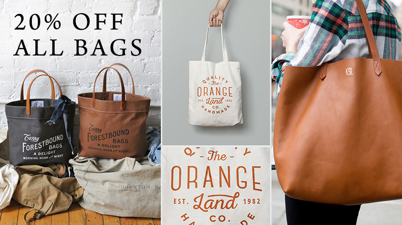 All custom printed bags 20% off- includes totes, grocery bags, travel bags, lunch bags and more