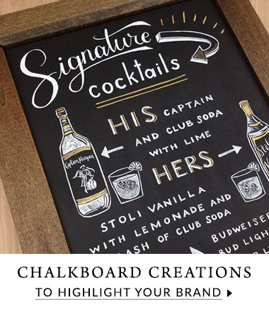 Custom designed chalkboards for a cool way to display content