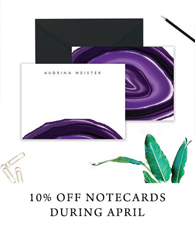 Branded personalized logo notecards on sale during April