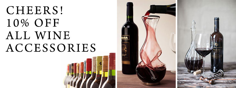 Cheers! Wine accessories, such as decanters, openers and stoppers are all on sale during May