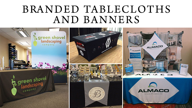 Branded tableclothes and banners for tradeshows and events