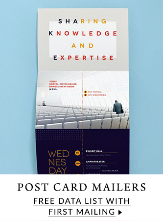 Free data list with first order for post card mailers