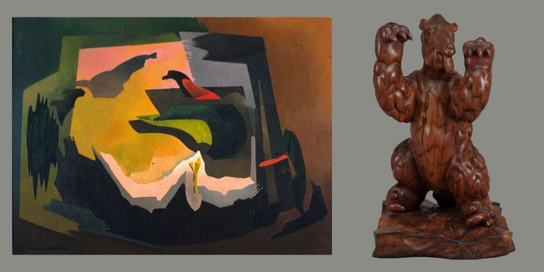 Left: William S. Schwartz, Symphonic Forms #40, 1940. Right: Fred E. Meyers, Giant Sloth, 1939-1941