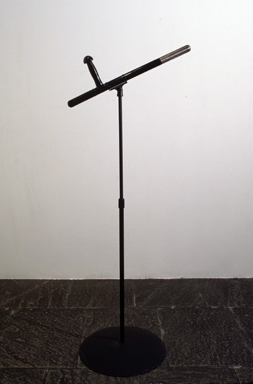 Mel Chin,   Night Rap  , 1994, Polycarbide plastic, steel, wireless transmitter, microphone element, batteries, 24 x 11 3/16 x 5 1/2 inches
