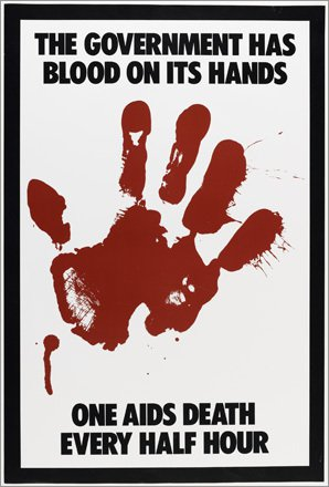 Gran Fury, The Government Has Blood on Its Hands, 1988 Poster, offset lithography 1 ¾ x 21 3/8 inches
