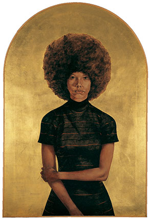 Barkley L. Hendricks, Lawdy Mama, 1969, Oil and gold leaf on linen canvas, 3 3/4 x 36 1/4 inches