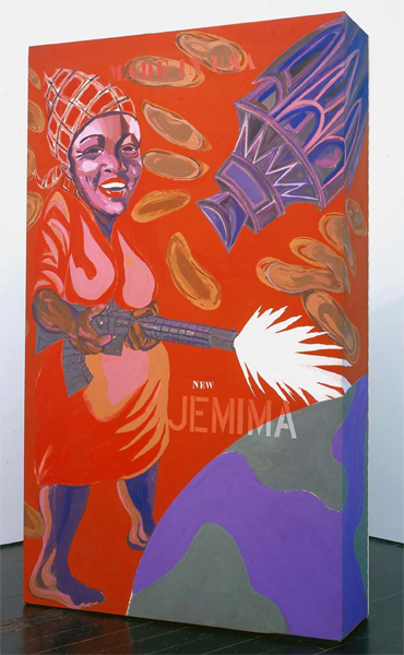 Joe Overstreet, The New Jemima, 1964, Acrylic and fabric over plywood construction, 02 1/2 x 60 3/4 x 17 1/4 inches