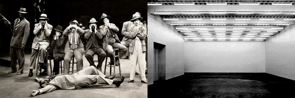 Left: A production of Bertholt Brecht's  The Resistible Rise of Arturo Ui.  Right: The white cube of the contemporary art gallery.