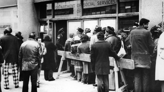Unemployment line, New York City, 1974