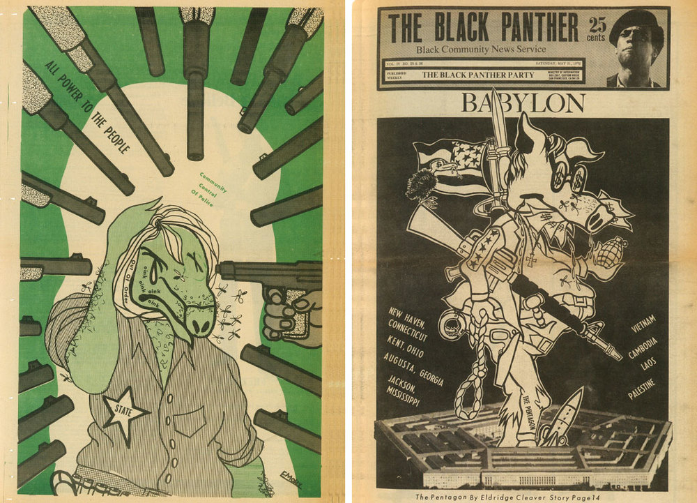 Emory Douglas designs in The Black Panther