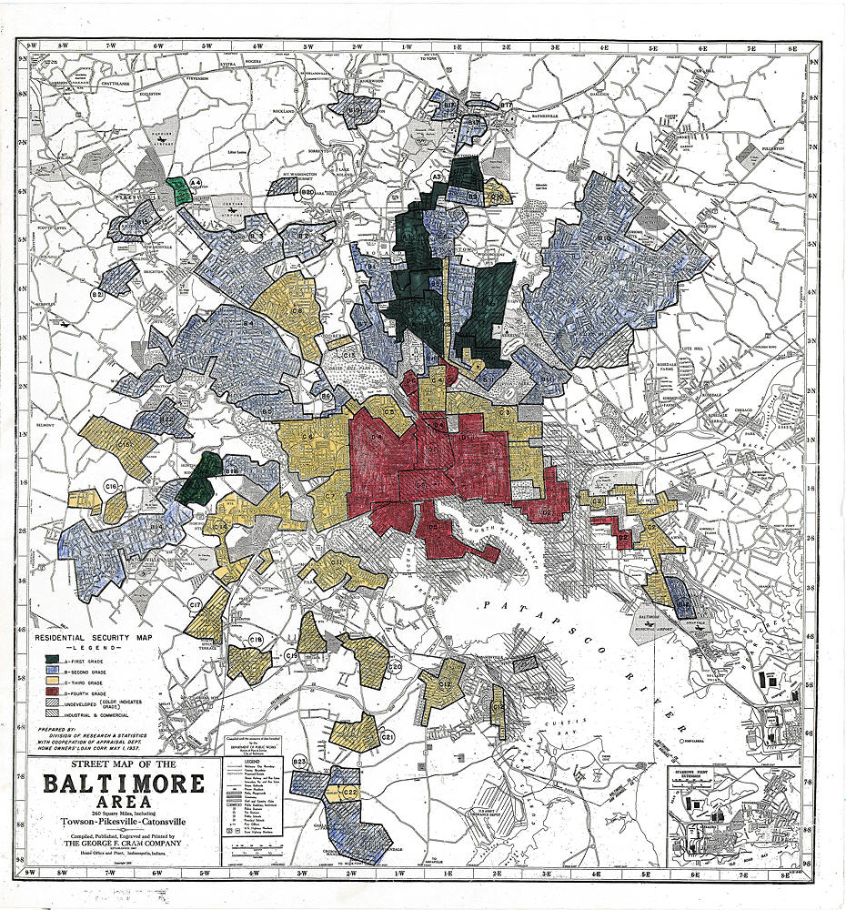 Redlining in Baltimore, circa 1930s.