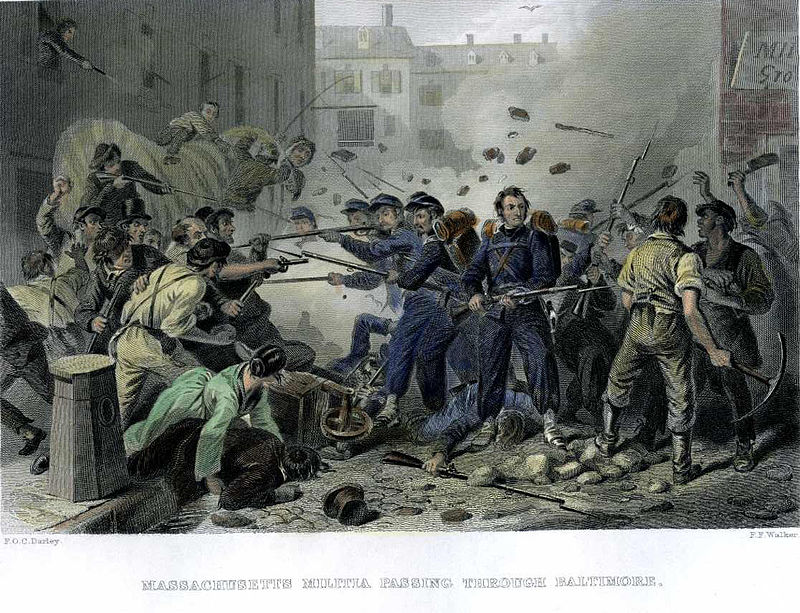 Pro-Confederate rioters attack the 6th Massachusetts in 1861.