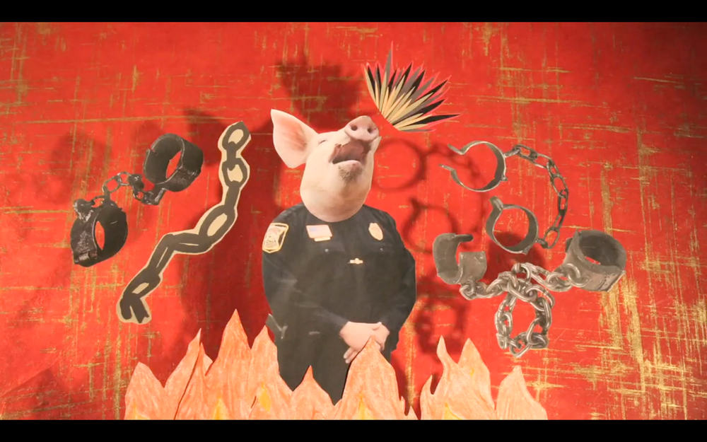"Kelly Gallagher, ""Pen Up the Pigs"" (2014), video still"