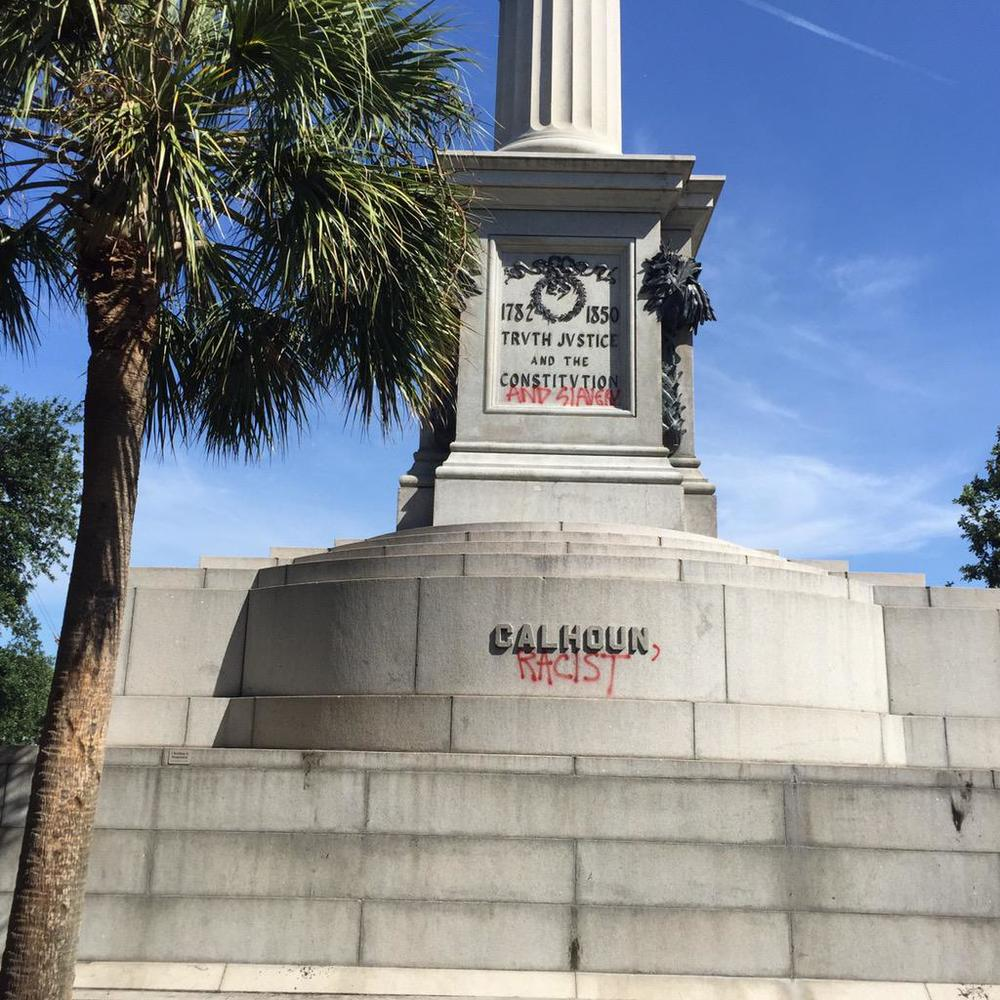 Days after the murders at Emanuel AME, the base of the statue was improved upon. Calhoun's father was a successful plantation owner and slaveholder. Calhoun enthusiastically supported slavery throughout his political career.  (Credit: Joe Patrizzi III)